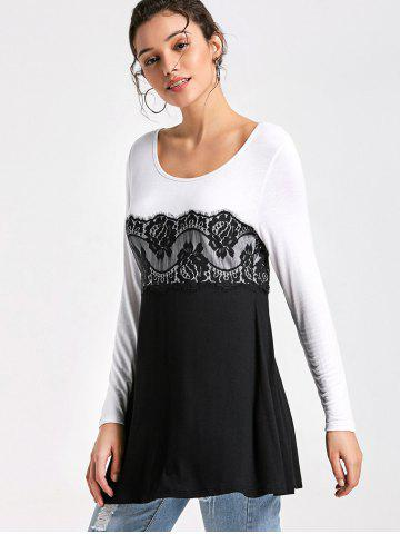 Shop Lace Insert Long Sleeve Tunic Top - M WHITE AND BLACK Mobile