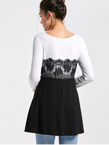 Unique Lace Insert Long Sleeve Tunic Top - M WHITE AND BLACK Mobile