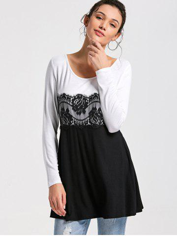 Trendy Lace Insert Long Sleeve Tunic Top - M WHITE AND BLACK Mobile