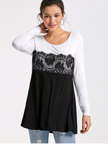 Fancy Lace Insert Long Sleeve Tunic Top - M WHITE AND BLACK Mobile