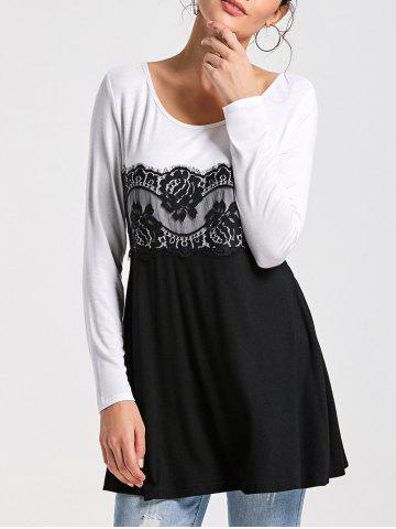 Shop Lace Insert Long Sleeve Tunic Top - L WHITE AND BLACK Mobile