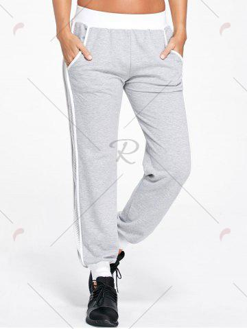Best Openwork Insert Sport Ankle Banded Pants - XL LIGHT GRAY Mobile