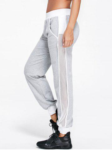 Chic Openwork Insert Sport Ankle Banded Pants LIGHT GRAY 2XL