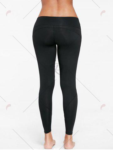 Shop Mesh Insert Tight Gym Leggings - S BLACK Mobile