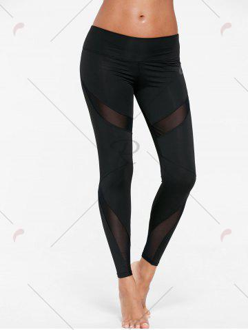 Trendy Mesh Insert Tight Gym Leggings - S BLACK Mobile