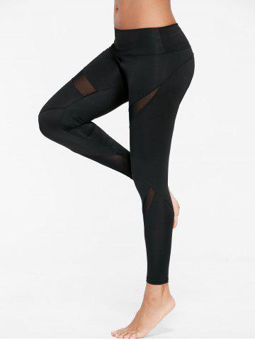 Unique Mesh Insert Tight Gym Leggings - L BLACK Mobile