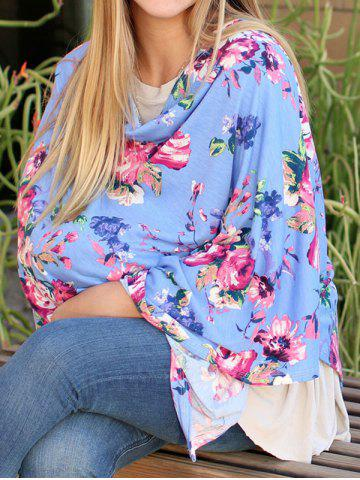 Outfits Multifunctional Asymmetric Floral Nursing Poncho - M BLUE Mobile