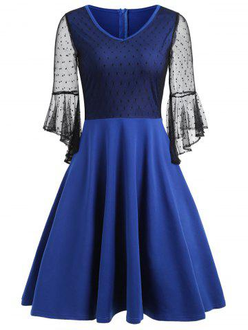 Outfit Mesh Panel Bell Sleeve Skater Dress - S BLUE Mobile