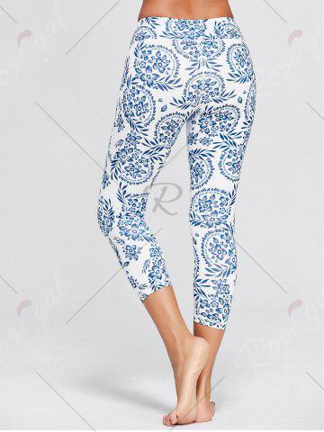 Discount Paisley Printed High Waist Stretch Yoga Leggings - L BLUE Mobile