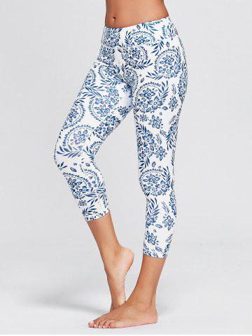 Outfit Paisley Printed High Waist Stretch Yoga Leggings - XL BLUE Mobile