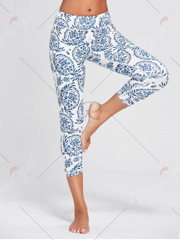 Online Paisley Printed High Waist Stretch Yoga Leggings - XL BLUE Mobile