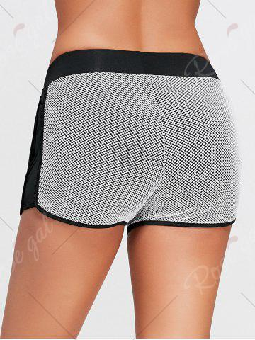 Affordable Fishnet Mesh Layering Running Shorts with Pocket - S BLACK Mobile