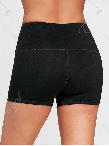Sale Active High Waisted Lace Up Shorts - S BLACK Mobile