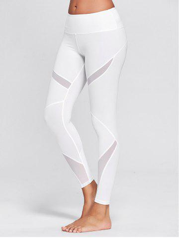 High Waisted Mesh Panel Workout Leggings - White - Xl