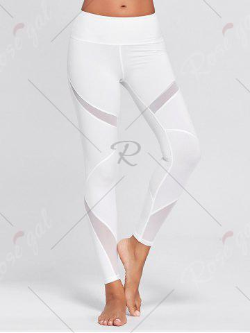 Unique High Waisted Mesh Panel Workout Leggings - M WHITE Mobile
