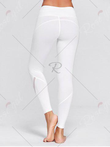Latest High Waisted Mesh Panel Workout Leggings - M WHITE Mobile