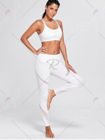 Affordable High Waisted Mesh Panel Workout Leggings - M WHITE Mobile