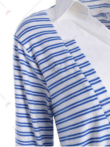 Store Plus Size Shirt Collar Striped Long Sleeve T-shirt - 5XL BLUE Mobile