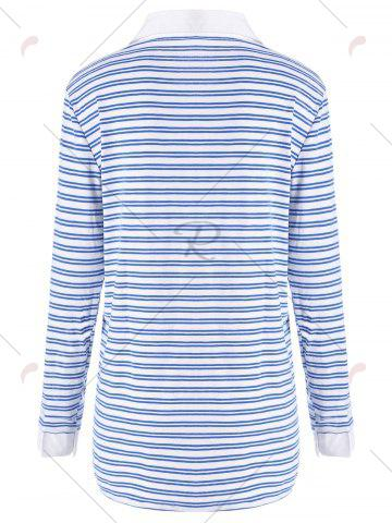 Fancy Plus Size Shirt Collar Striped Long Sleeve T-shirt - 5XL BLUE Mobile