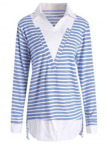 Outfits Plus Size Shirt Collar Striped Long Sleeve T-shirt - 5XL BLUE Mobile