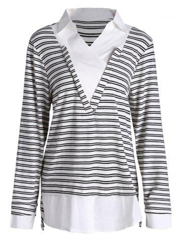 Best Plus Size Shirt Collar Striped Long Sleeve T-shirt BLACK 4XL