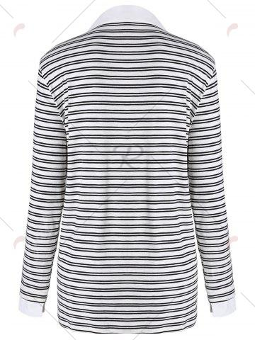 Discount Plus Size Shirt Collar Striped Long Sleeve T-shirt - 4XL BLACK Mobile