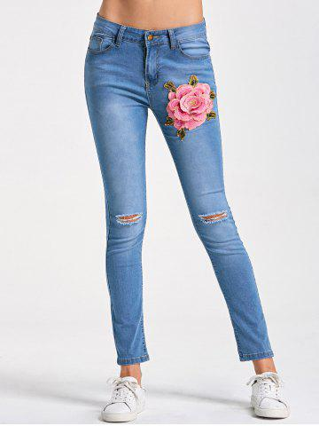 Cheap Skinny Embroidery Distressed Jeans - M LIGHT BLUE Mobile