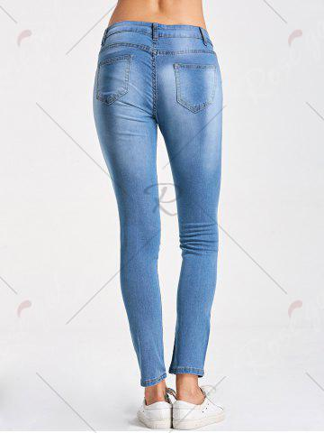 Latest Skinny Embroidery Distressed Jeans - M LIGHT BLUE Mobile