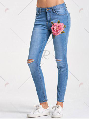 Online Skinny Embroidery Distressed Jeans - M LIGHT BLUE Mobile