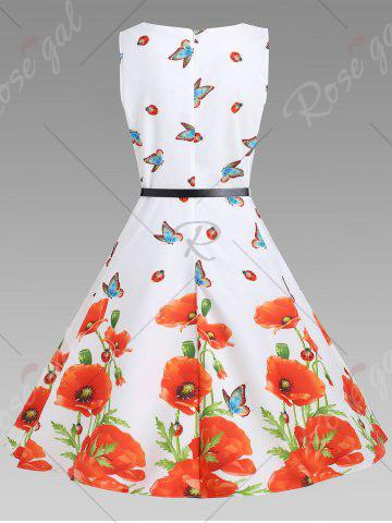 Hot Sleeveless Floral A Line Vintage Dress - XL FLORAL Mobile