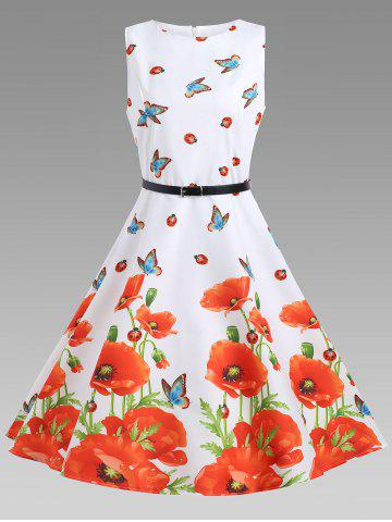 Cheap Sleeveless Floral A Line Vintage Dress - 2XL FLORAL Mobile