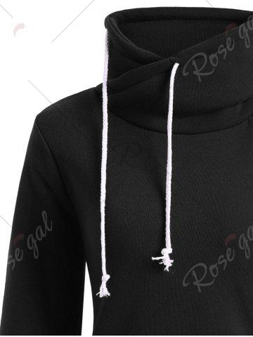 Shop Mock Neck Pocket Drawstring Long Hoodie - XL BLACK Mobile