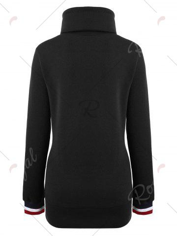 Latest Mock Neck Pocket Drawstring Long Hoodie - XL BLACK Mobile