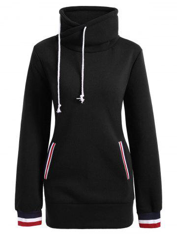 Mock Neck Pocket Drawstring Long Hoodie Noir S