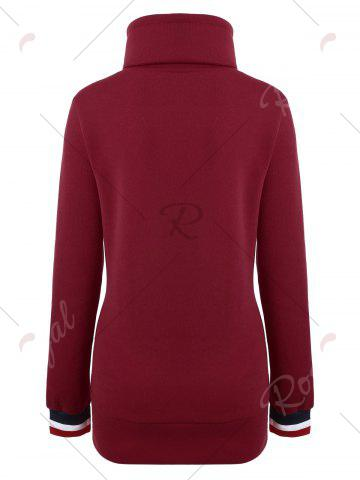 Outfit Mock Neck Pocket Drawstring Long Hoodie - M RED Mobile