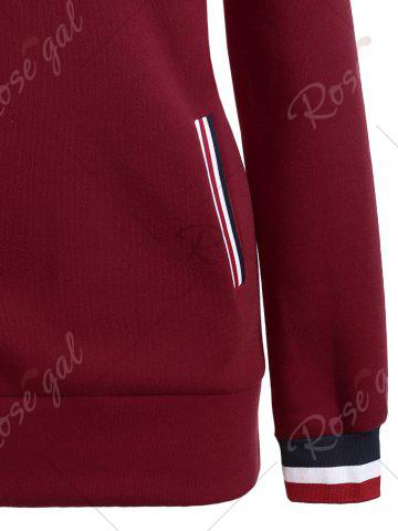 Outfits Mock Neck Pocket Drawstring Long Hoodie - L RED Mobile