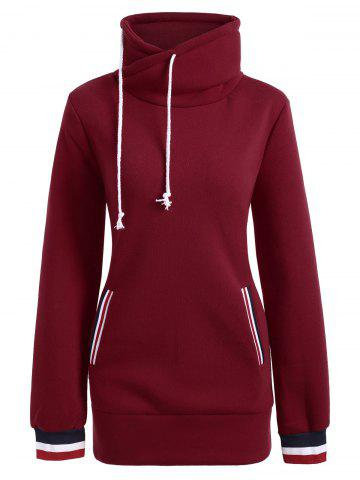 Mock Neck Pocket Drawstring Long Hoodie Rouge XL