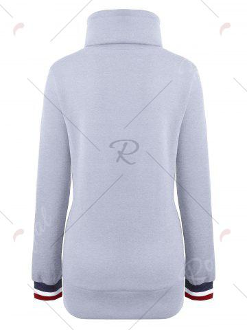Outfits Mock Neck Pocket Drawstring Long Hoodie - XL GRAY Mobile
