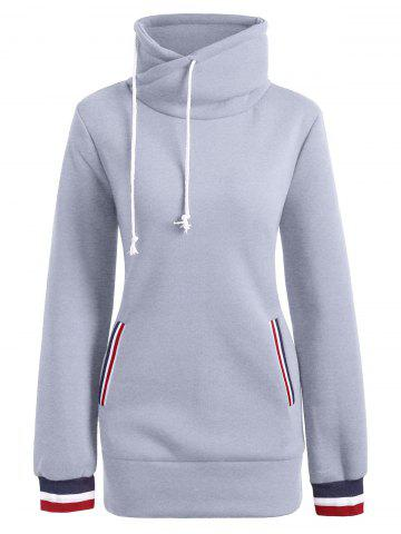Mock Neck Pocket Drawstring Long Hoodie Gris L