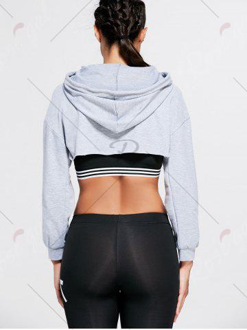 Affordable Open Front Sports Long Sleeve Cropped Hoodie - ONE SIZE GRAY Mobile