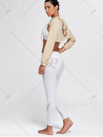 Shops Open Front Sports Long Sleeve Cropped Hoodie - ONE SIZE KHAKI Mobile