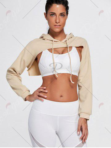 Latest Open Front Sports Long Sleeve Cropped Hoodie - ONE SIZE KHAKI Mobile