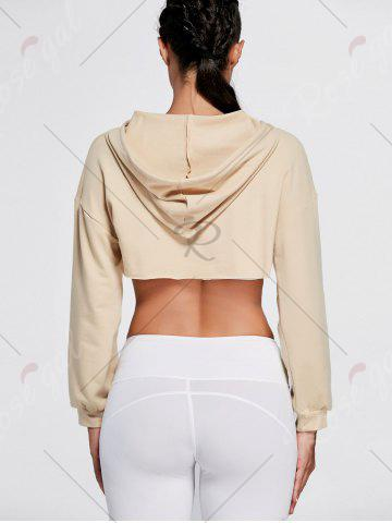 Fashion Open Front Sports Long Sleeve Cropped Hoodie - ONE SIZE KHAKI Mobile