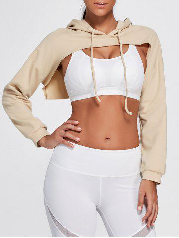 Open Front Sports Long Sleeve Cropped Hoodie - Khaki - One Size