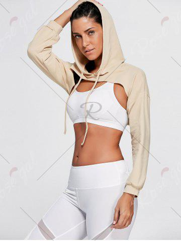 Fancy Open Front Sports Long Sleeve Cropped Hoodie - ONE SIZE KHAKI Mobile
