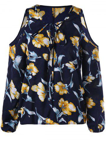Buy Floral Cold Shoulder Blouse - M DEEP BLUE Mobile