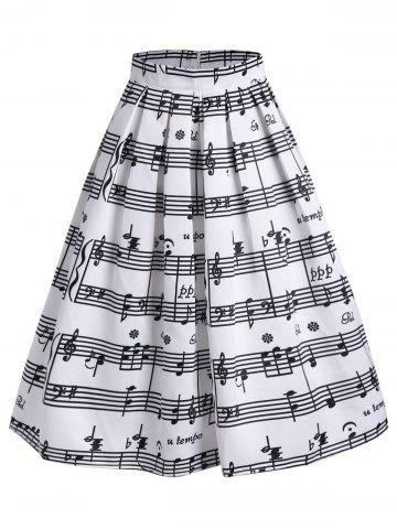 Outfit Music Notes High Waisted Midi Skirt - S WHITE Mobile