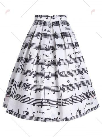 Online Music Notes High Waisted Midi Skirt - S WHITE Mobile