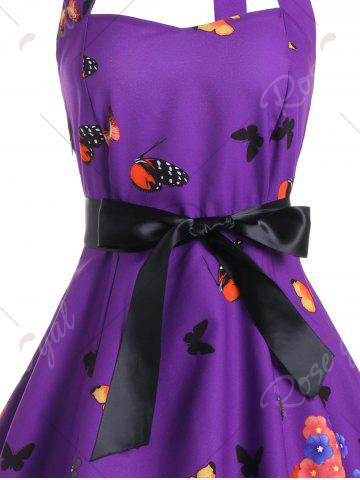 Affordable Vintage Butterfly Print Halter A Line Dress - XL DEEP PURPLE Mobile