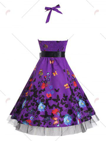 Cheap Vintage Butterfly Print Halter A Line Dress - XL DEEP PURPLE Mobile